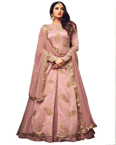 Party Wear Peach Rangoli Net,Banarsi Jacquard Salwar Suit