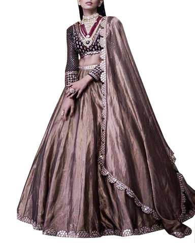 Coco And Dark Brown Designer Lehenga
