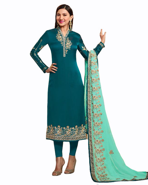 Turquoise Blue Color Georgette Satin suit