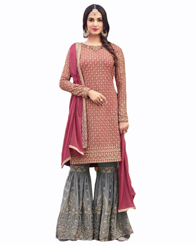 Pink And Greycolor Georgette Suit