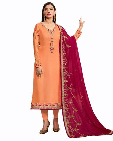 Light orange Color Georgette Satin suit