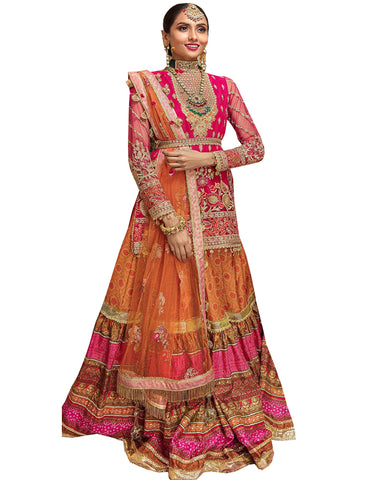 Pink And Orange Designer Frills Lehenga