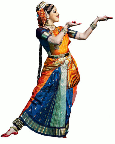 Blue & Golden Bhatatnatyam Dance Dress