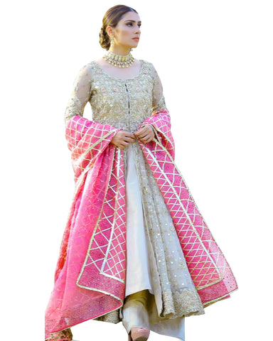 Pista And Pink Color Anarkali Long Suit