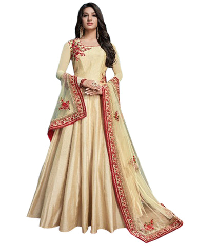 Cream Color Pure Barfi Silk Gown