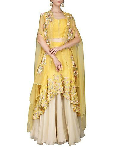 Yellow And Cream Color Designer Lehenga