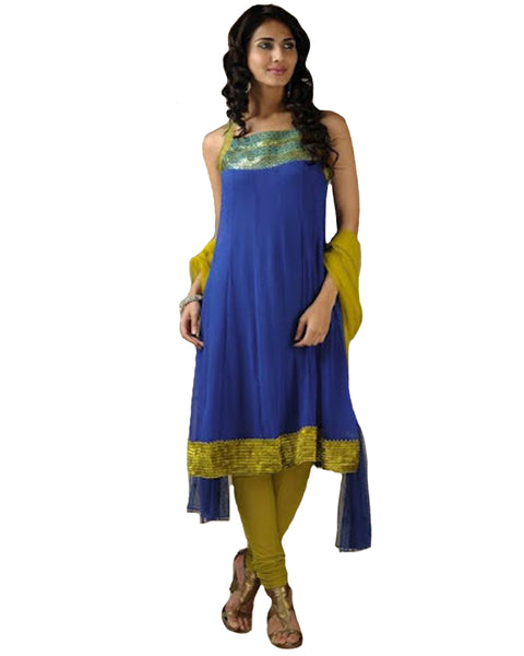 Stylish Blue And Ocher Yellow Strapy Georgette  Anarkali Suit