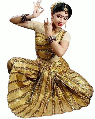 Golden Indian Classical Dance Bharatanatyam Dress