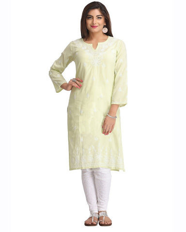 Pista Color Chikankari Cotton Kurti