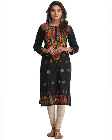 Black Color Chikankari Cotton Kurti
