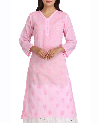 Pink Color Chikankari Cotton Kurti