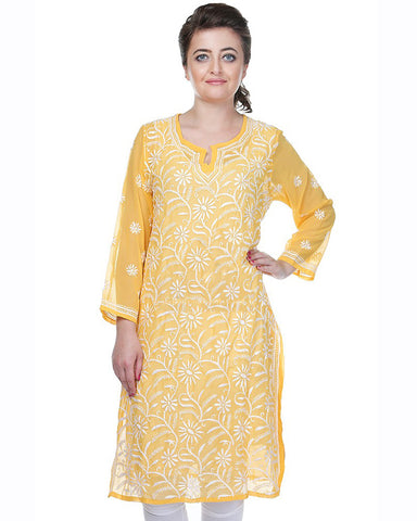 Yellow Color Chikankari Faux Georgette Kurti