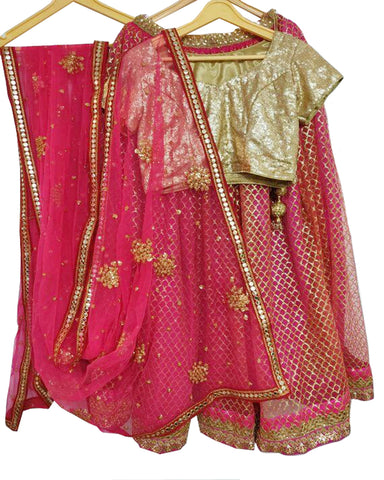 Fantastic Pink & Gold Colored Partywear Embroidered Net Lehenga Choli