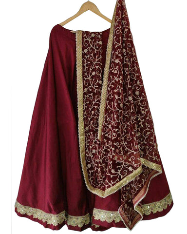 Fantastic Maroon Colored Partywear Embroidered Silk Lehenga Choli