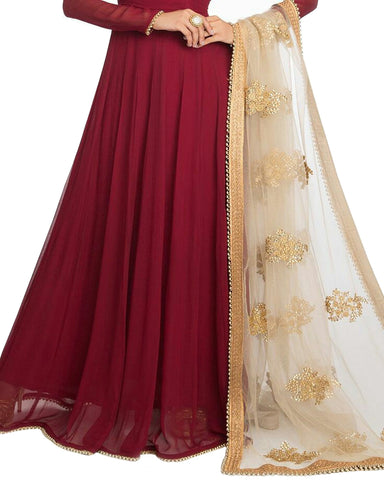 Maroon Color moti Lace Anarkali Gown