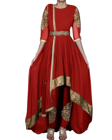 Red and Gold High Low Anarkali