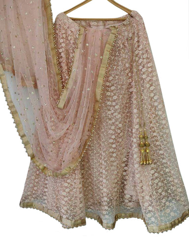 Fantastic Light Pink Colored Partywear Embroidered Net Lehenga Choli