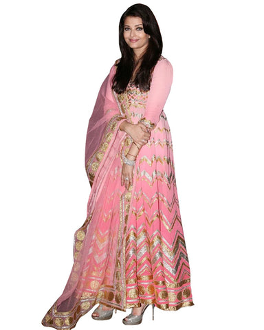 Aishwarya Rai in Pink Color Anarkali Suit