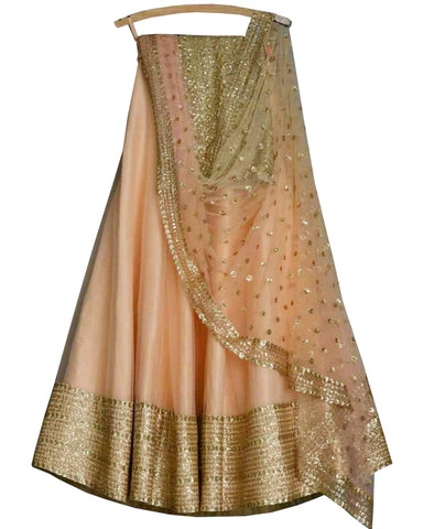 Fantastic Peach Colored Partywear Embroidered Net Lehenga Choli