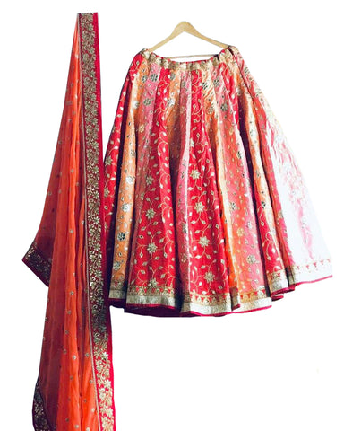 Red & Orange Bridal Lehenga With Gota Patti Embroidery