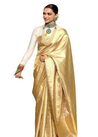 Deepika Padukone Gold Silk Saree