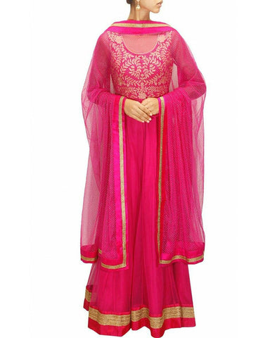 Pink Color Gota Patti Anarkali Gown