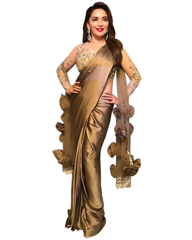 Madhuri Dixit Ochre Gold Colour With Rose Freel Saree