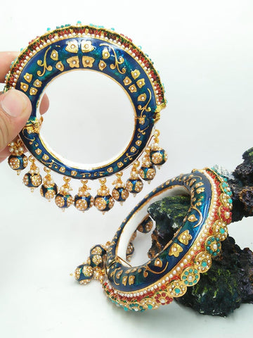 Multicolor Pearl And Meenakari Hand Crafted Jaipuri Kada