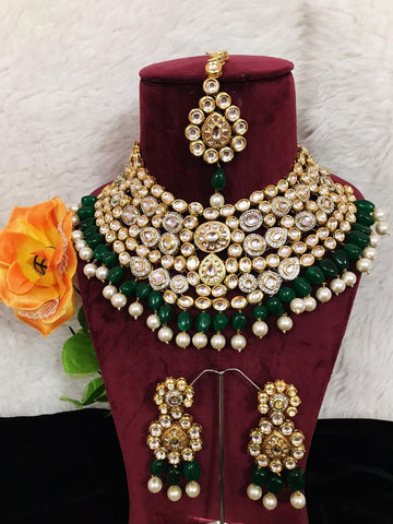 High Quality Ac kundan with Back Meena Neaclace Set