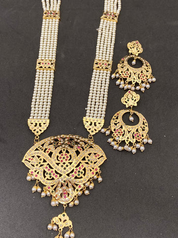 High Quality PinK And White Color Hand Made Jadaoo Rani Set