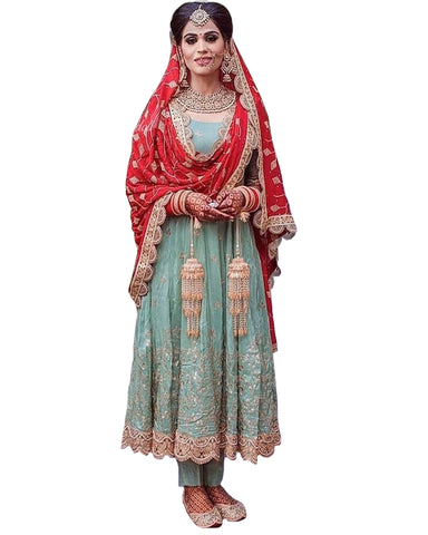 Sky And Red Colored Partywear Embroidered Abaya Style Net Birdal Anarkali Suit