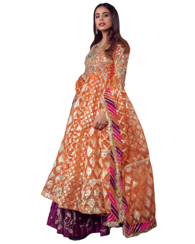 Demanding Orange And Purple Colored Party wear suit