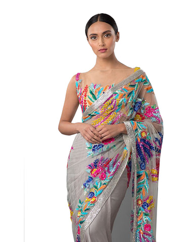 Splendorous Grey Embroidered Saree