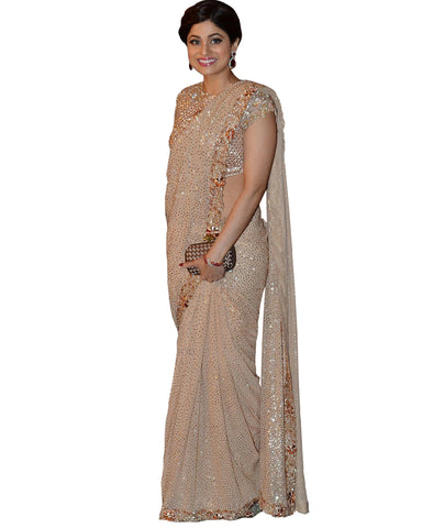 Shamita Shetty Gold Color Printed Georgette Saree