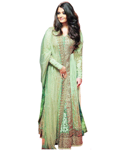 Bollywood Pista Color Aiswarya Heavy Anarkali Gown