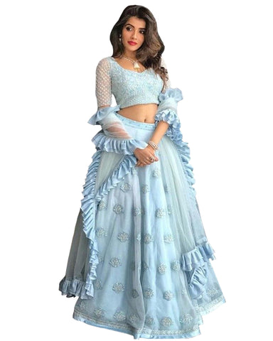 Beautiful Pastel Sky Blue Lehenga Choli With Frills Dupatta.