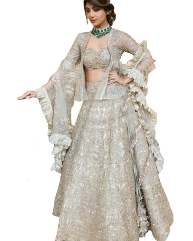 Grey Color Lehenga By Slipa Shetty