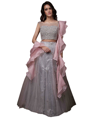 Grey And Pink Color Wedding Lehenga