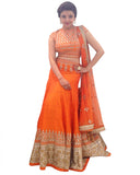 Orange Color Traditional Gotta Patti Lehenga