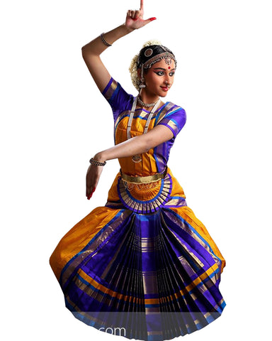 Yellow And Blue Bhatatnatyam Dance Dress