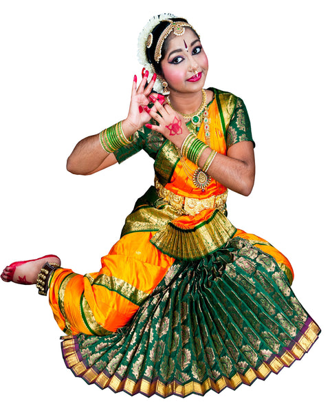 Bottle Green And Yellow Bhatatnatyam Dance Dress