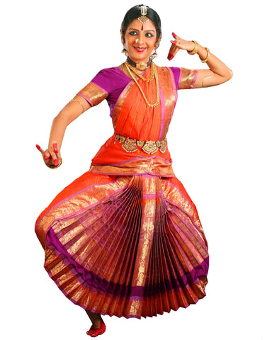 Orange And Purple Dress Andhra Natyam Dance Dress