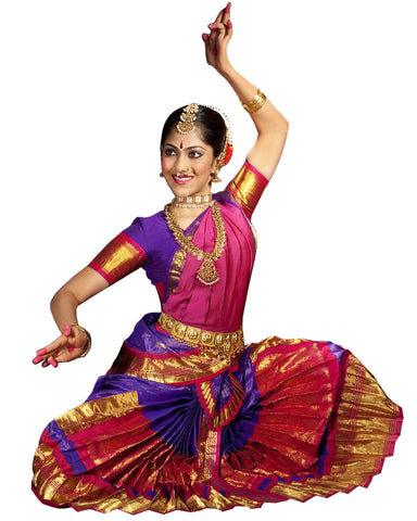 Pink And Purple Classical Dance Bharatanatyam Dress