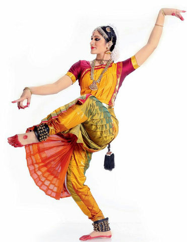 Yellow And Magenta Classical Dance Bharatanatyam Dress