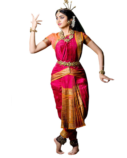 Pink And Gold Classical Dance Bharatanatyam Dress
