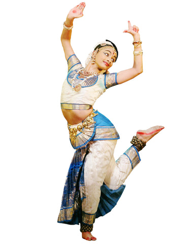 White And Sky Blue Classical Dance Bharatanatyam Dress