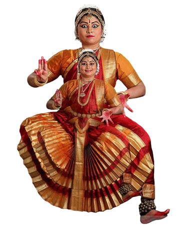 Maroon And Gold Classical Dance Bharatanatyam Dress