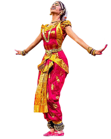 Dard Pink And Gold Classical Dance Bharatanatyam Dress