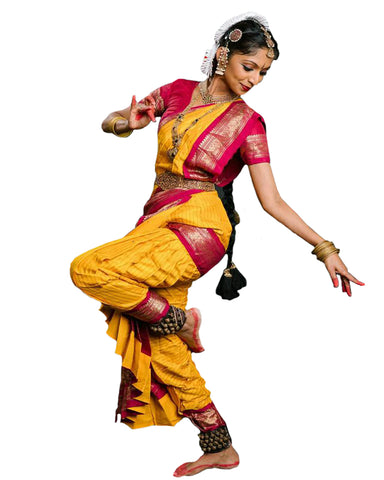 Pink And Yellow Dress Andhra Natyam Dance Dress