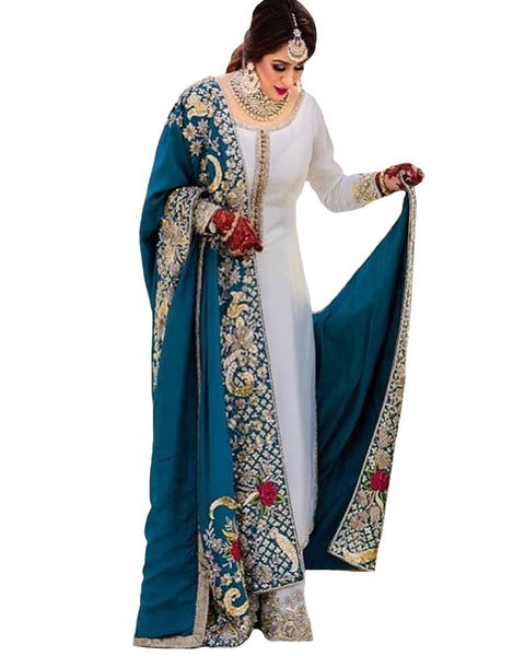 Off-White And Rama Blue Color Hand Work Palazzo Suit